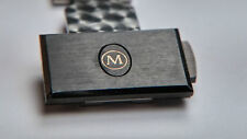 Movado Men's Watch Clasp, black top, chrome/silver. NEW