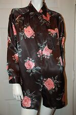 Maggie Lawrence Black Floral Design Shirt Sz 14/16