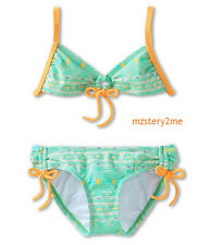 O'Neill Girls 7 Fiji Tie Front 2 Pc Halter Bikini Swimsuit Green Orange