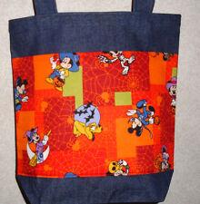 New Medium Denim Treat Tote Bag Handmade/w Mickey Mouse Halloween Fabric