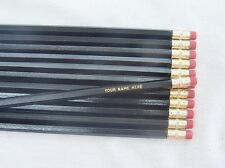 "12 Hexagon ""Black"" Personalized Pencils"
