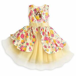 Disney Store Belle Celebration Party Dress Girls Beauty & Beast Holiday Costume