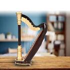 Mini Harp Model Wooden Musical Instrument Harp Replica Ornament with Storage Box