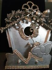 Fancy Silver Wood & Vintage Rhinestone Bird House - Indoor Decorative Use Only!