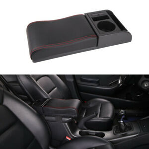 Universal Retractable Auto Center Console Armrest Pad Black  Elbow Bracket Mat