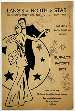 1930's Vintage Food Cocktails Menu LANG'S NORTH STAR RESTAURANT Buffalo NY