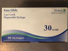 Global Easy Slide Disposable Syringe 30ccml Luer Lock Box Of 50