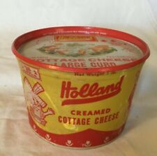 Holland Indiana Holland Dairy Creamed Cottage Cheese Container with Tin Lid