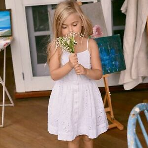 NEW Polo Ralph Lauren Girls EYELET Buttoned Cotton Dress White Fit & Flare 16
