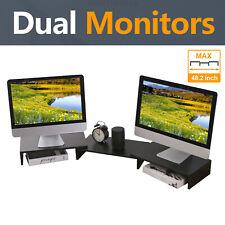 Wood Dual Monitor Stand Riser with Length and Angle Adjustable 3 Shelf