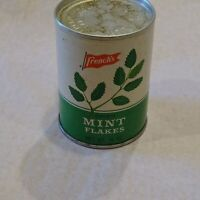 Vintage French's Spice Mint Leaves, Pasteboard Round with Metal Top.