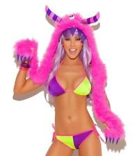 Furry Monster Hood Hat Horns Claws Costume Clubwear Fuzzy Neon Pink 2410