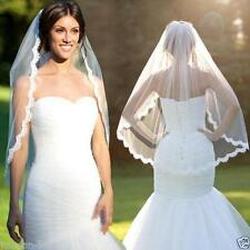 2018 White/Ivory Elbow Beaded Edge Pearl Sequins Wedding Bridal Veil With Comb
