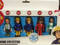 Fireman Sam 5 pack  figures Norman, Penny, Sam, Tom & Nurse Flood play set