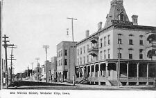 Webster City Iowa~Des Moines Street~Willson House Hotel~Stores~1912 B&W Postcard