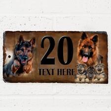 Personalised German Shepherd Dog Gate Door House Slate Sign Name Number Plaque