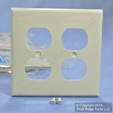 Leviton Gray UNBREAKABLE 2-Gang Duplex Outlet Plastic Wallplate Cover 80716-GY