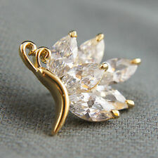 18k Gold GF Diamond simulant butterfly solid brooch pin