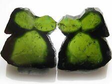 MCV-Nice Green Tourmaline slice pair from Brazil. Gemstone. 15.23 ct