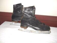 ANTIQUE VINTAGE MEN'S BLACK ICE SKATES - SABER- JOHN TRUEBLOOD  NAME ON BOTTOM