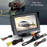 """Car Backup Camera Rear View Night Vision Cam & Foldable 4.3"""" TFT LCD Monitor Kit"""