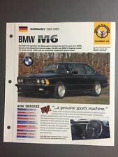 "1985 - 1989 BMW M6 Coupe IMP ""Hot Cars"" Spec Sheet Folder Brochure Awesome L@@K"