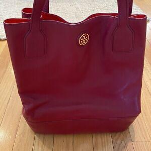 Tory Burch Burgundy Leather Tote Bag