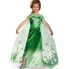 Mädchen Frozen Eiskönigin Elsa Kostüme Kinder Cosplay Party Grün Fancy Kleid=