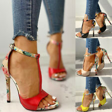 Womens Stiletto High Heels Leather Peep Toe T-Bar Shoes Print Buckle Sandals New