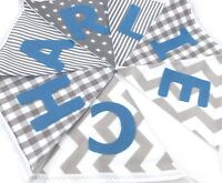 PERSONALISED FABRIC BUNTING New baby.  Grey Monochrome Blue Letters Spots Stripe