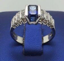 14K WHITE GOLD BEAUTIFUL BLUE SAPPHIRE AND DIAMONDS RING
