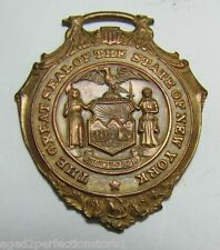 Antique Great Seal of the State of New York Medallion Fob 14kt Gold Plate Bronze