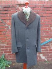 L 42R - Vintage 1960's Burton Mens Tweed Coat Woolly Collar Jacket Overcoat L953