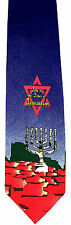 Pray For Peace Jerusalem Mens Necktie Jewish Neck Tie Blue Holiday Gift Tie New