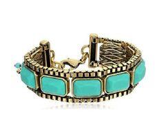 Lucky Brand Turquoise Stone Antiqued Gold-tone Flex Bracelet