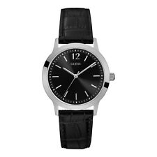 Guess Men's Analogue Quartz Leather Black Watch W0922G1