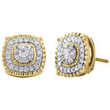 10 Quilates Oro Amarillo Engastados Diamante Redondeado Cuadrado Halo Dormilonas
