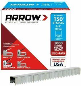 Arrow Fastener 506IP Genuine T50 3/8-Inch Staples, 5,000-Pack 3/8 Inch, Grey