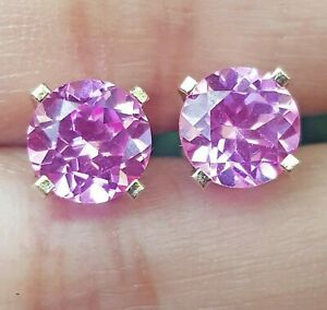 3.91ct Natural VS Pink Sapphire 14K Solid White Gold Stud Earrings Push Back