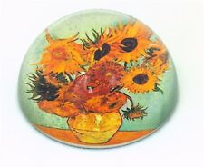 Van Gogh Sunflowers Vibrant Orange Flowers Glass Dome Desk Paperweight