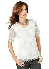 Fair Lady Womens S/Sleeve Round Neck Lace Front Top 24 BNWT RRP £33.98 Ecru