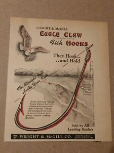 1947 Eagle Claw Fishing Hook Ad Wright & McGill Co