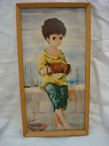 VINTAGE DALLAS SIMPSON FRAMED 1960,S ART PRINT OF BOY WITH ACORDIAN