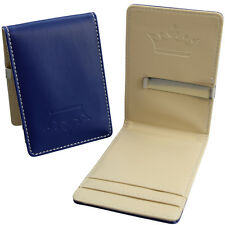 - Faux Leather Wallet - Card Cash Holder Mens Blue & Cream Slim Steel Money Clip
