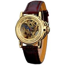 Luxury Women Brown Leather Gold Skeleton Automatic Mechanical Womens Dress Watch