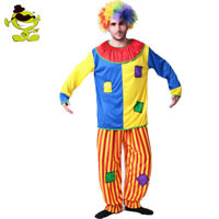 Colorful Clown Costume for Man Halloween Cosplay Funny Clown Clothing