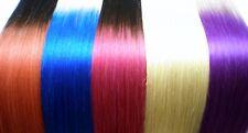 Haarverlängerung Echthaar 100g Tresse glatt 50cm Ombre Tressen blond spitze blau