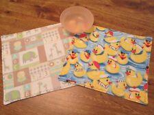 Handmade Quilted Flannel Duck Print & Elephant/Giraffe Print Child's Snack Mats