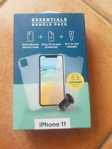 Essentials Bundle for Apple iPhone 11 Device Case, Screen Protector, Car Charger