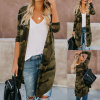 Womens Spring Long Cardigan Camouflage Long Sleeve Jacket Coat Top Outerwear AB